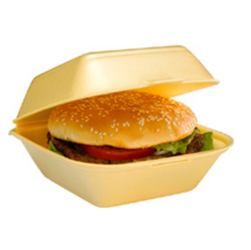 Envase hamburguesa foam 150x150x70 mm.